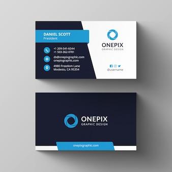 Dark blue business card template