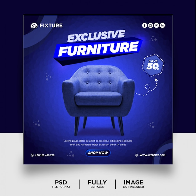 Dark blue color exclusive furniture product social media post banner