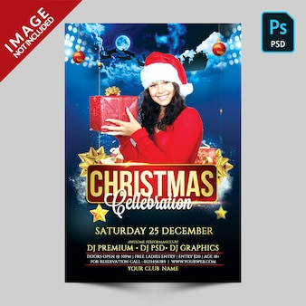 Dark blue cristmas celebration flyer