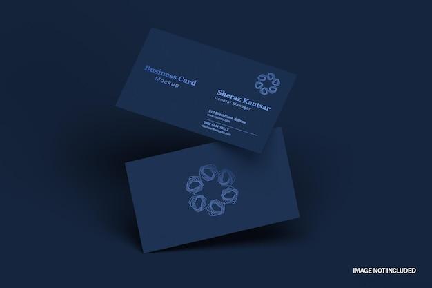Темно-синий элегантный и современный макет визитки