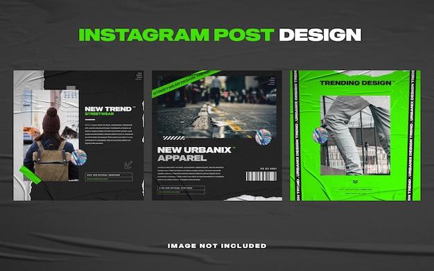 Темно-синий модный шаблон поста в instagram