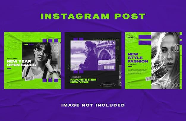Темно-синий модный пост в instagram