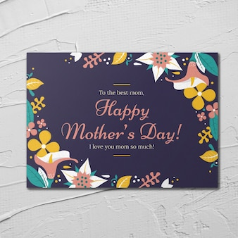 Dark blue mothers day card mockup