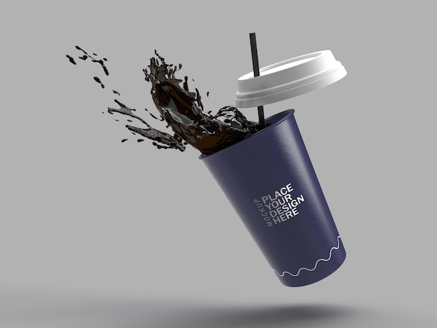 Dark blue paper coffee cup splash with straw 3d rendering isolated