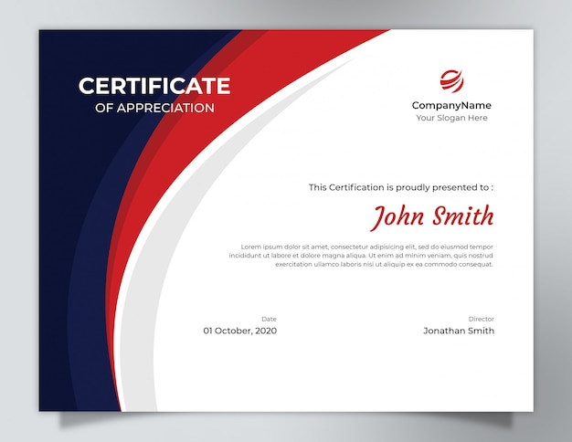 Dark blue & red waves certificate template with polygon pattern