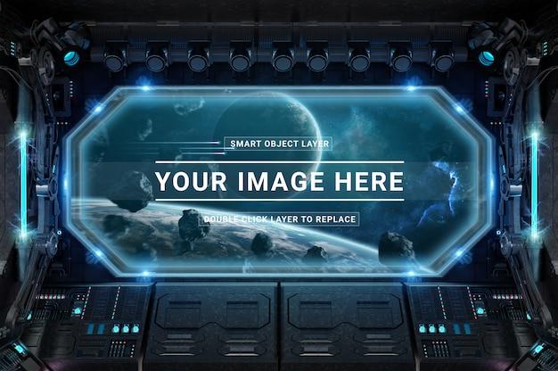 Dark and blue spaceship control panel station mockup