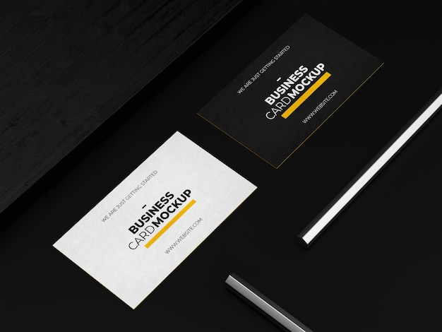 Dark business card mockup tempalte
