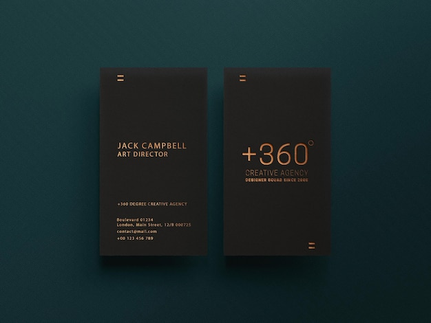 Dark business card mockup with luxury gold effect
