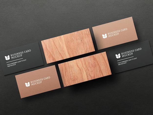 Dark business card with kraft paper mockup