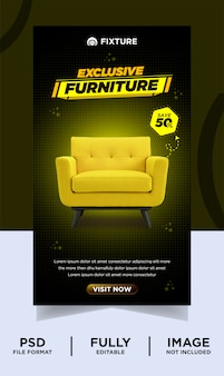 Dark chocolate color exclusive furniture product instagram post banner Premium Psd