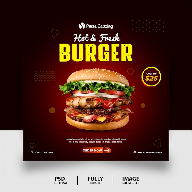 Dark chocolate color fresh burger menu food promotion social media post banner