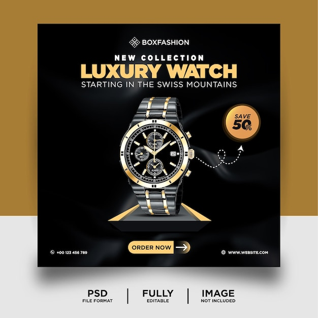 Dark color luxury watch brand product social media post banner