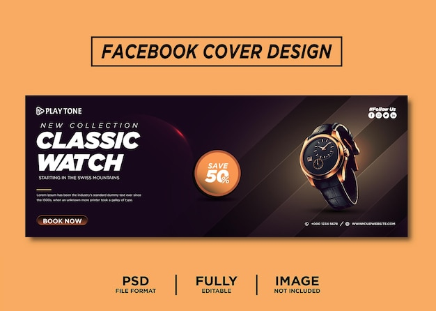 Dark color watch brand facebook cover template
