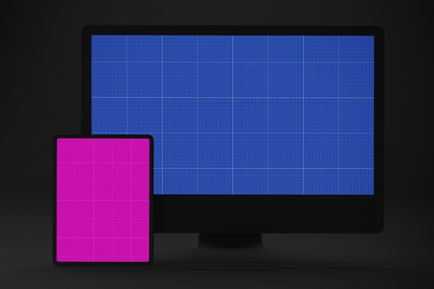 Dark computer and tablet mockup