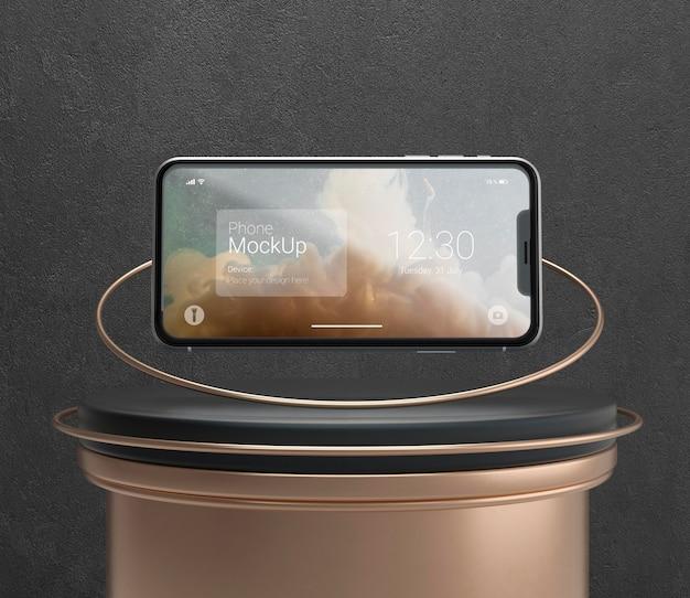 Dark and copper levitation phone mockup