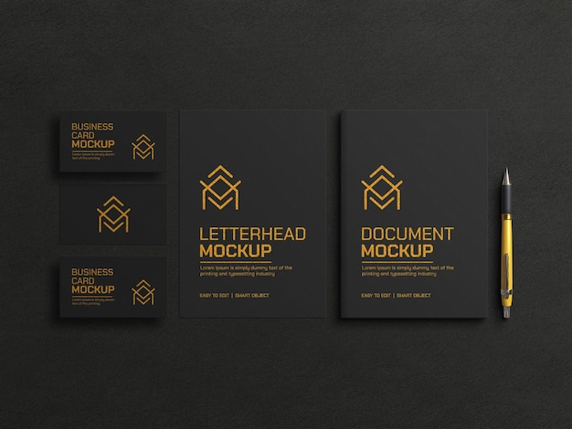 Dark document with business card mockup