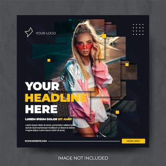 Dark dynamic fashion sale instagram social media post feed template