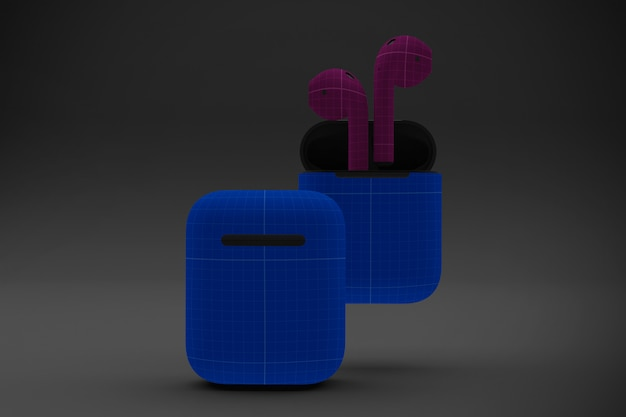 Dark earphone cases mockup