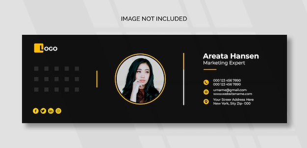Dark email signature template or email footer and personal social media cover design