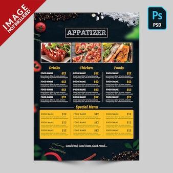 Dark food menu with food images
