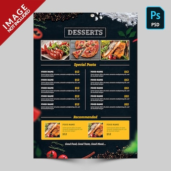 Dark food menu with food images