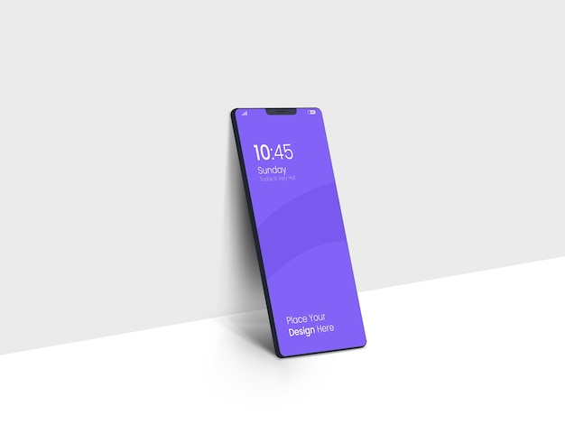 Темный полноэкранный макет смартфона