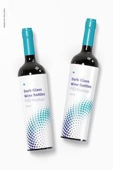 Dark glass wine bottles mockup, top view