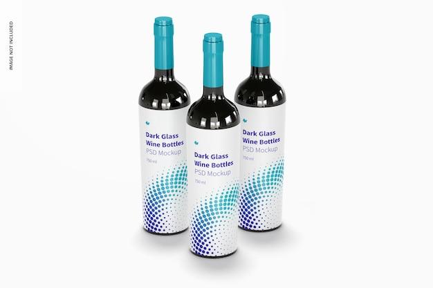 어두운 유리 와인 병 세트 모형