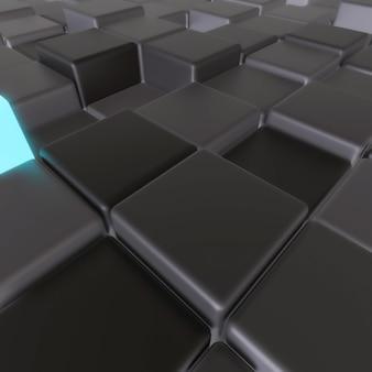 Dark and glowing cubes arrangement