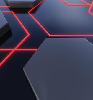 Dark and glowing geometric shapes