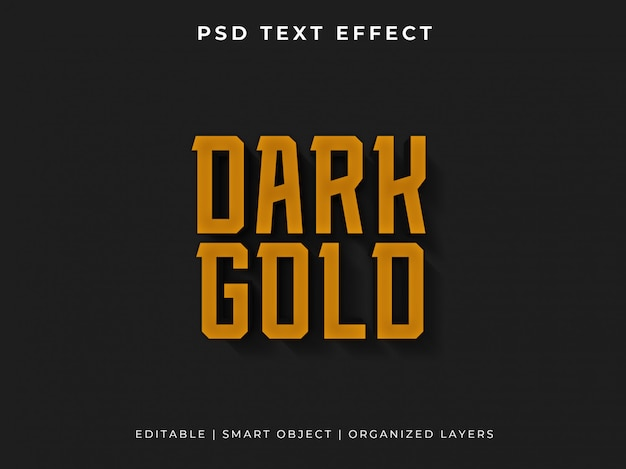 Dark gold 3d text effect
