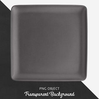 Dark gray rectangle ceramic plate on transparent background