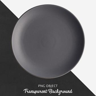 Dark gray round ceramic plate on transparent background