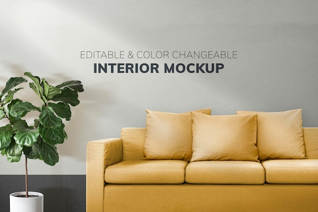 Dark green plain wallpaper in a living room mockup