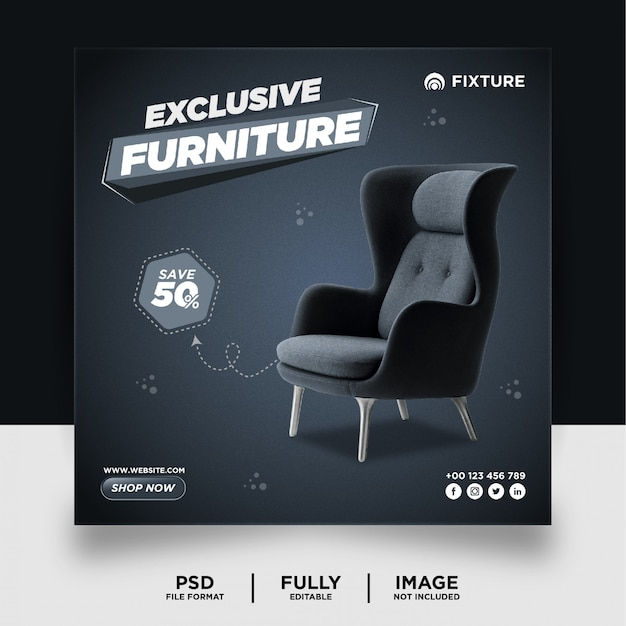 Dark grey color exclusive furniture product social media post banner