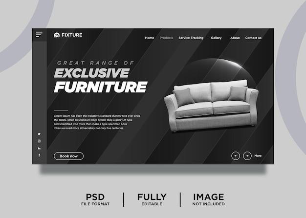 Шаблон целевой страницы продукта мебели темно-серого цвета