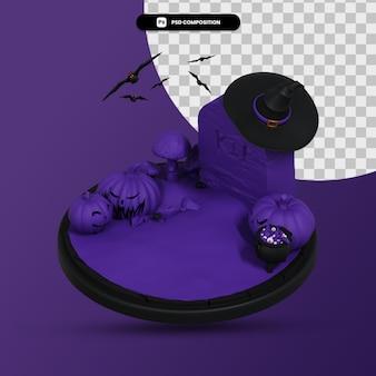 暗いハロウィーンのシーン3dレンダリングイラスト分離