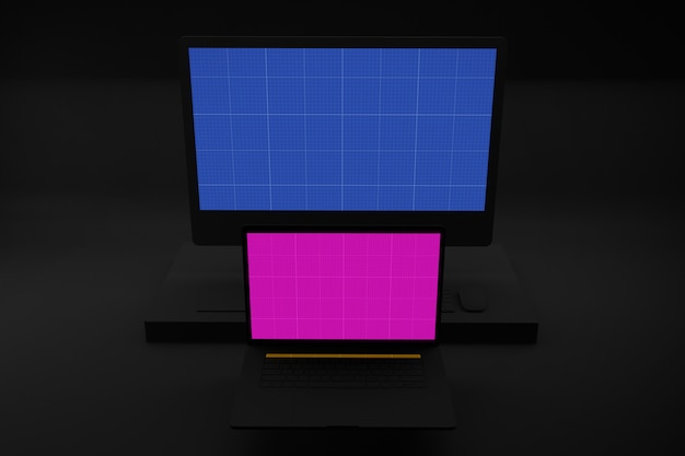 Dark laptop & computer mockup
