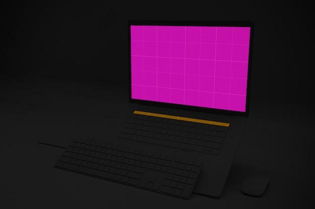 Dark laptop pro mockup v.3
