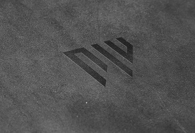 Темный кожаный макет с логотипом