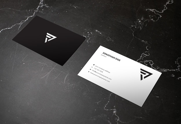 Dark marble stone businesscard mockup