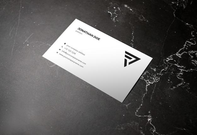Dark marble stone prespective businesscard mockup