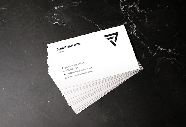 Dark marble stone stacked businesscard mockup