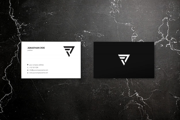 Dark marble two businesscard mockup