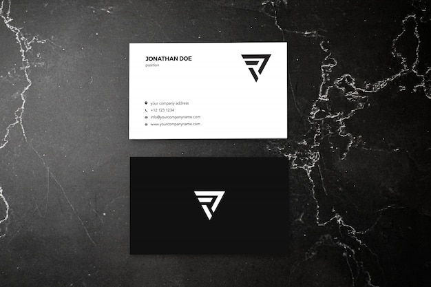 Dark marble vertical businesscard mockup