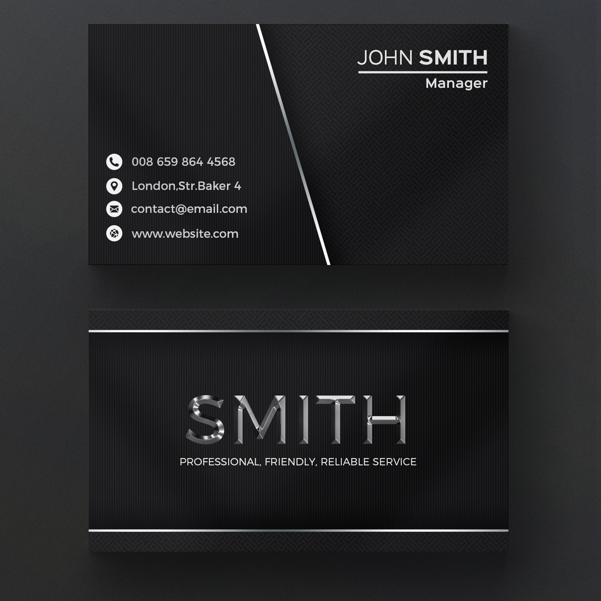 Dark metallic business card