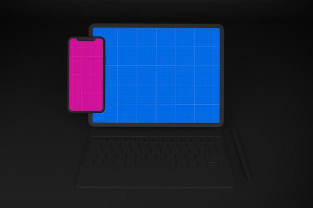 Dark mobile and tablet mockup
