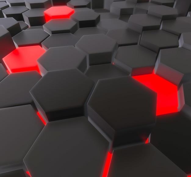 Dark and neon hexagons background
