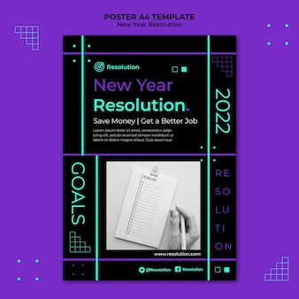 暗い新年の解像度の印刷テンプレート