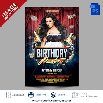 Dark red & blue birthday party photoshop flyer template